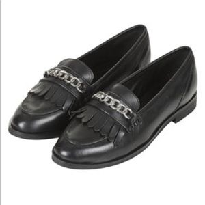 Topshop • Kain Chain Fringed Black Leather Loafers
